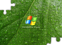 Windows, Vista, Liść, Krople, Wody