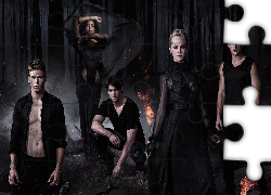 Pamiętniki wampirów, The Vampire Diaries, Steven R McQueen, Candice Accola, Michael Trevino, Noc, Ogień, Las, Bohaterowie