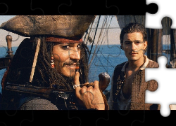Piraci Z Karaibów, statek, Orlando Bloom, Johnny Depp
