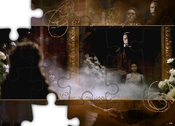 dym, Phantom Of The Opera, Emmy Rossum, Gerard Butler, kwiaty