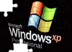 Logo, Windows, XP, Czarne, Tło