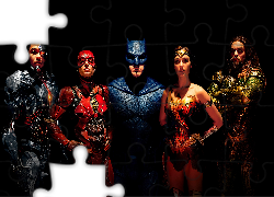 Liga Sprawiedliwości - Justice League, Obsada, Ray Fisher - Cyborg, Ben Affleck - Batman, Jason Momoa - Aquaman, Ezra Miller - Flash, Gal Gadot - Wonder Woman
