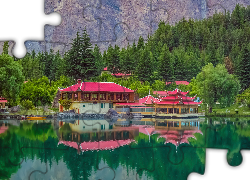 Shangrila Resort Hotel, Jezioro, Lower Kachura Lake, Drzewa, Skardu, Pakistan