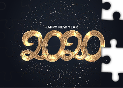 Nowy Rok, Napis, Happy New Year, 2020
